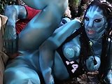 Horny alien Nicky Hunter reveals her round blue tits and fucks Jake
